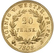 20 Franken - Jérôme Bonaparte (Restrike) – reverse