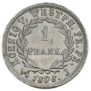 1 Frank - Jérôme Bonaparte (Lead pattern) – reverse