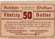 50 Heller (Winklarn) – reverse
