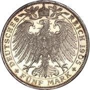 5 Mark - Wilhelm II. – reverse
