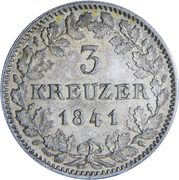3 Kreuzer - Wilhelm I. – reverse
