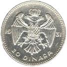 20 Dinara - Aleksandar I – reverse