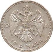 10 Dinara - Aleksandar I – reverse