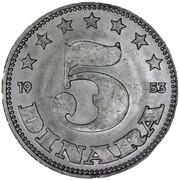 5 Dinara (FNR legend) – reverse