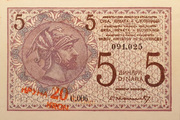 20 kruna (overprint on 5 dinara) – obverse