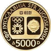 5000 Dinara (Winter Olympics 1984 - Flame) – obverse