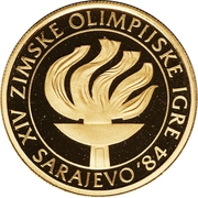 5000 Dinara (Winter Olympics 1984 - Flame) – reverse