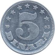 5 Dinara (SFR legend) – reverse