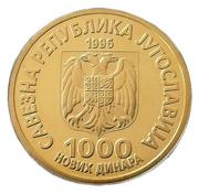 1000 Novih Dinara (Nikola Tesla) – obverse