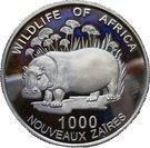 1000 Nouveaux Zaïres (Common Hippopotamus) – reverse
