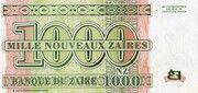 1 000 Nouveaux Zaïres – reverse