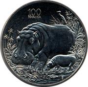 100 Kwacha (Hippopotamus) – reverse