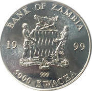 5000 Kwacha (Elephant and calf in the water) – obverse