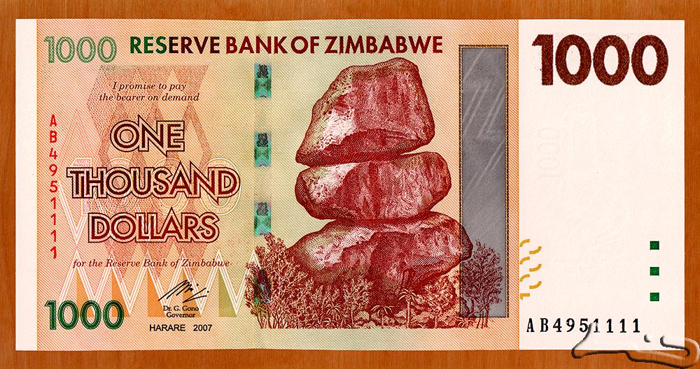 ZIMBABWE 1000 1,000 DOLLARS 2007 P 71 AUNC ABOUT UNC