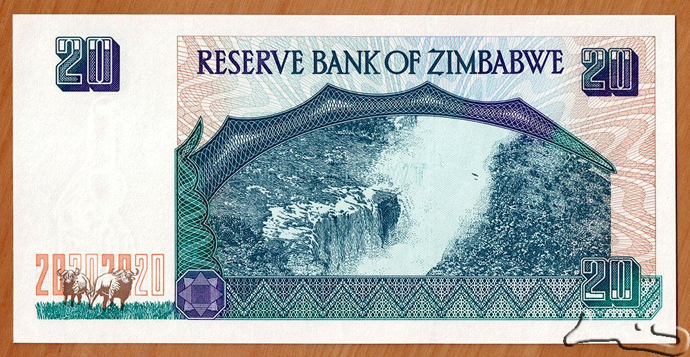 P-7 1997 Zimbabwe 20 Dollars UNC