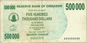 500 000 Dollars (Bearer Cheque) – obverse