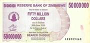 50 000 000 Dollars (Bearer cheque) – obverse