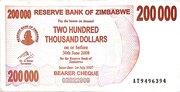 200 000 Dollars (Bearer Cheque) – obverse