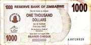 1 000 Dollars (Bearer Cheque) – obverse
