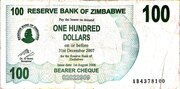 100 Dollars (Bearer Cheque) – obverse