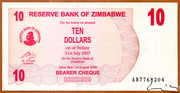 10 Dollars (Bearer Cheque) – obverse