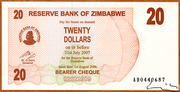 20 Dollars (Bearer Cheque) – obverse