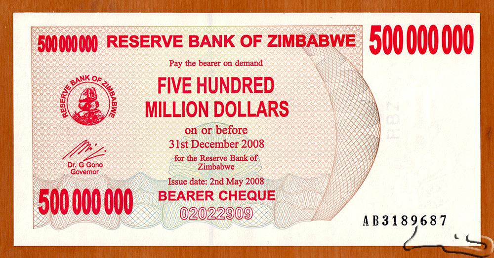 Zimbabwe 500 Million Dollars Uncirculated Bearer Cheque