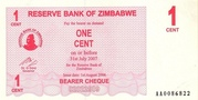1 Cent (Bearer Cheque) – obverse