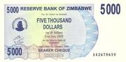 5 000 Dollars (Bearer Cheque) – obverse