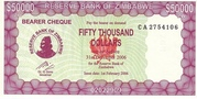 50 000 Dollars (Emergency Bearer Cheque) – obverse