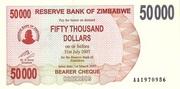 50 000 Dollars (Bearer Cheque) – obverse