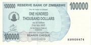 100 000 Dollars (Bearer Cheque) – obverse
