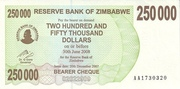 250 000 Dollars (Bearer Cheque) – obverse