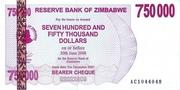 750 000 Dollars (Bearer Cheque) – obverse