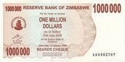 1 000 000 Dollars (Bearer Cheque) – obverse