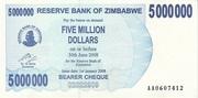 5 000 000 Dollars (Bearer Cheque) – obverse