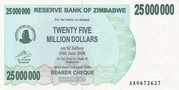 25 000 000 Dollars (Bearer Cheque) – obverse