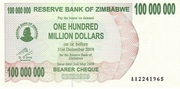 100 000 000 Dollars (Bearer Cheque) – obverse
