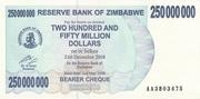 250 000 000 Dollars (Bearer Cheque) – obverse