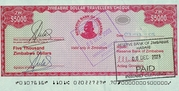5 000 Dollars - Travellers Cheque – obverse