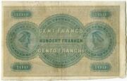 100 Francs (Bank in Zürich) – reverse