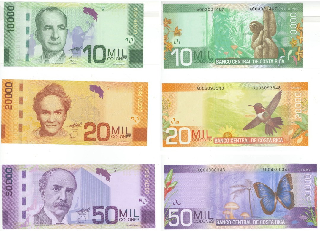 Banknotes from Costa Rica for Sale (New family) – Numista