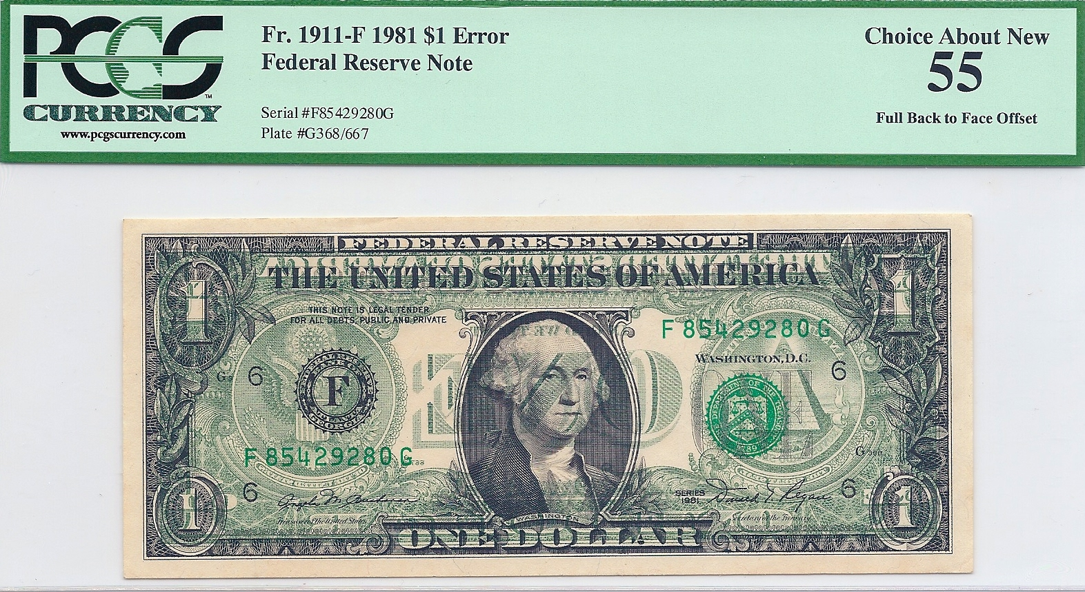 US One Dollar banknote with full offset printing error  – Numista