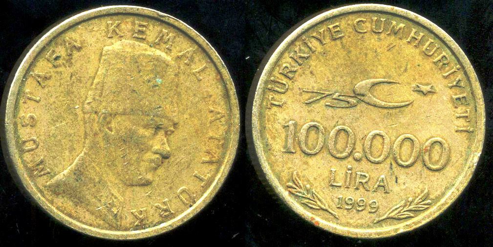 The Largest Nominal Value In My Collection Is This 100 000 Turkish Lira Coin From 1999