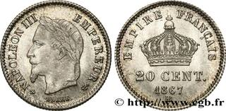 Picture 1 of a sold 20 Centimes - Napoleon III