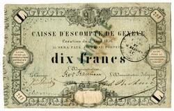 Picture 1 of a sold 10 Francs (Caisse d'Escompte de Genève)