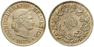 Picture 1 of a sold 10 Rappen (Libertas; copper-nickel)