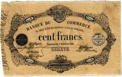 Picture 1 of a sold 100 Francs (Banque du commerce de Genève)