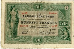 Picture 1 of a sold 50 Francs (Aargauische Bank)