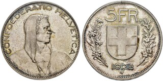 Picture 1 of a sold 5 Francs (Herdsman; silver; large type; 5 FR.)